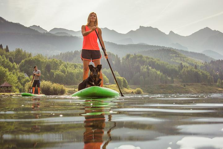 stand up paddle board with dog td