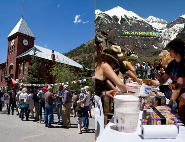 People standing in line in Telluride for ice cream near clock tower.