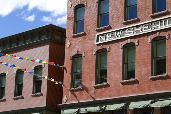 Red Brick hotel Building in historic mining town Telluride