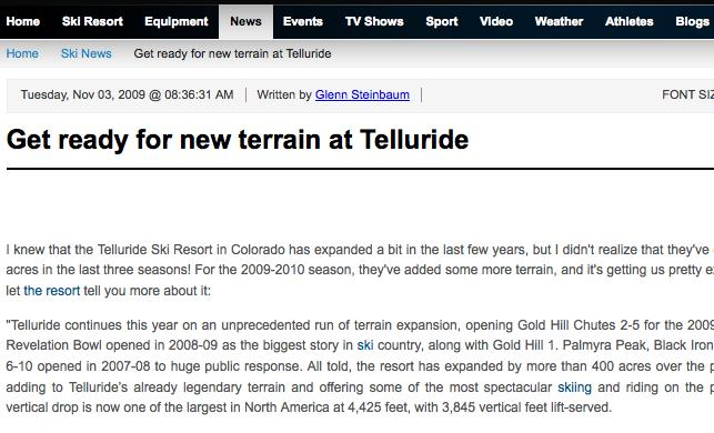 Get Ready For New Terrain At Telluride
